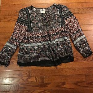 Multi color mainly black blouse